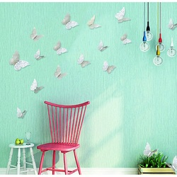 3D sticker on the wall silver butterfly, 1 set - 12pcs