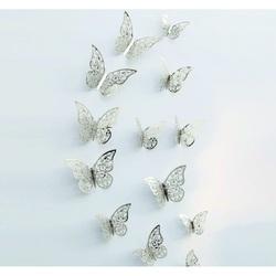 Trendy Sticker- Butterfly silver, 1 set - 12pcs