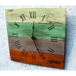 Wooden clock Roman numerals and the Roman room in colors.
