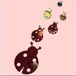Mirror adhesive wall clock for children - ladybird, size: 300 x 450 mm