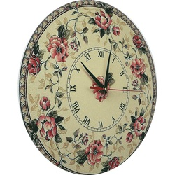 Wooden clock made of wood and stickers - Pink garden, size: 30x30 cm
