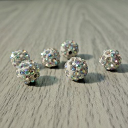 Shamballa bead - white rainbow FI 10 mm