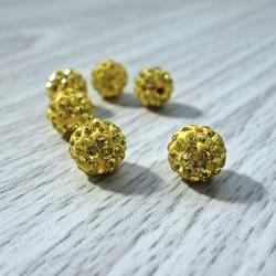 Shamballa bead - yellow FI 10 mm