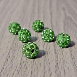 Shamballa bead - green FI 10 mm