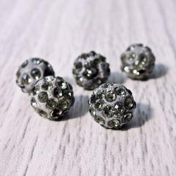 Shamballa bead - gray FI 10 mm