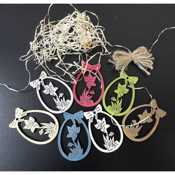 Wooden Ornaments for Easter, 1 set-7 pieces