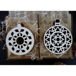 Wooden Christmas Ornaments, 1 set-12 pieces