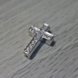 Metal cross with zircons - silver