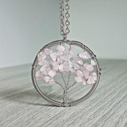 Gemstone Pendant - Tree -  rose quartz
