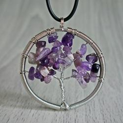 Gemstone Pendant - Tree - Amethyst Chevron