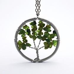 Gemstone Pendant - Tree - olivine
