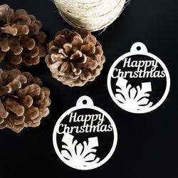 Karácsonyi dekoráció fából - Boldog karácsonyt, méret: 79x90 mm
