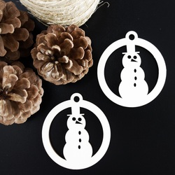 Snowman-wooden Christmas decoration, size: 79x90 mm