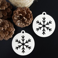 Snowflake-decoration made of wood, size: 79x90 mm