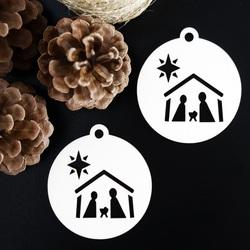 Vintage ornament for Christmas tree - Bethlehem, size: 79x90 mm