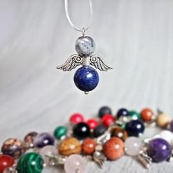 Pendant Angel of Minerals - light hematite and lapis lazuli