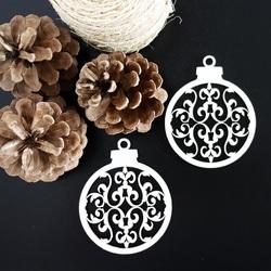 Decoratiuni din lemn - minge de Crăciun, dimensiune: 79x90 mm