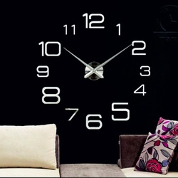 Wall clock 3D social status of gray mirror