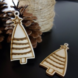 Christmas decoration made of wood, size: 84x40 mm
