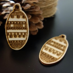 Wooden decoration for Christmas tree, size: 68x33 mm