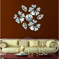 Wall clock with mirror and dyed flowers TIMKO