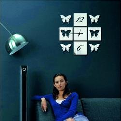 Wall Clock Mirror Butterfly Wings, 40x40 cm