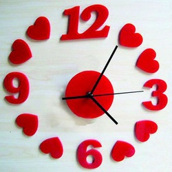 Wall clock Red heart, 30x30 cm