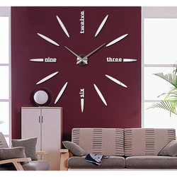 Large wall clock with 3D mirror sticker SIX