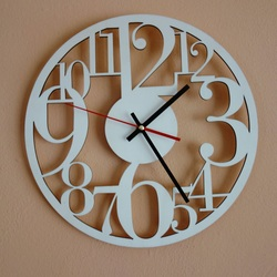 Wall clock on wooden plywood is time to change Filp