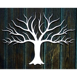 Wooden decoration painting on a wall made of plywood fall tree autumn Dimension: 300 x 411 mm
