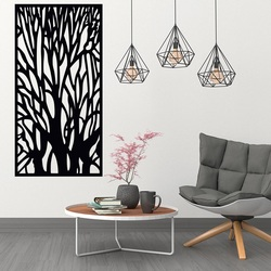 Wooden image on the wall silhouette of branches made of plywood tree Fibis