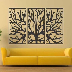 Wall painting of a wooden plywood tree branch in a frame / 3 pieces of frame / FERO