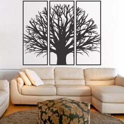 Wall painting of a wooden plywood tree branch in a frame / 3 pieces of frame /KANANA