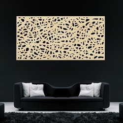 Wooden image on a wall made of plywood Topol speckle