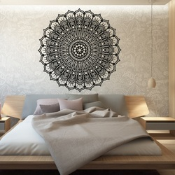 Mandala flower calm wooden image on a wall of plywood SILVIA