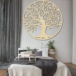 Decoration on the wall of a tree of life wooden picture of plywood FAMILY