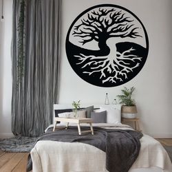 Wall painting of a tree made of wooden plywood BALANCE