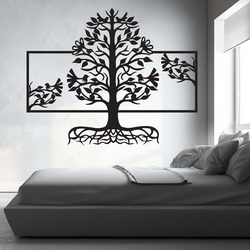 Wooden painting on the wall of a roots tree made of wooden plywood poplar MALFEL