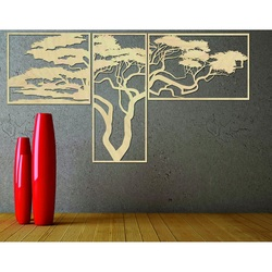 Wooden picture on the wall HANAA The picture consists of three parts POLONGE