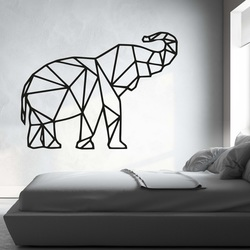 XMOM carved picture on the wall geometric shapes elephant PR0236 black