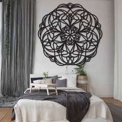Flower carved mandala wooden picture on plywood wall