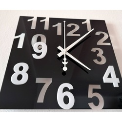 Modern Wall Clock-Color Numbers, Color: Black, White