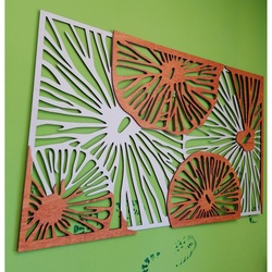 Carved image on the wall of wooden plywood orange 3D effect KODJAK