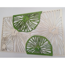 Carved image  made of wooden plywood tree original Poplar, second color green KIWIKI