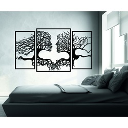 Pompous picture on the wall faces and trees