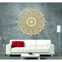 Magic painting on the wall made of wooden plywood mandala