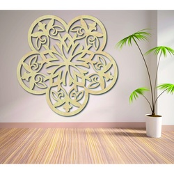 Picture of a mandala wall carved from wooden plywood flowers